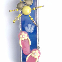 Beach Mezuzah fused&stained glass handmade by dalit glass
