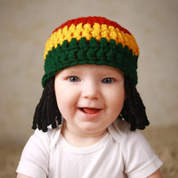 Baby Hats Rasta Beanie Wig Photo Props Toddler Costume Phtography Prop Baby Hat Yellow Rasta Baby Rasta Dreads Black Dreadlocks Baby Wig