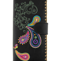 Paisley vegan/faux leather large wallet with embroidery - 