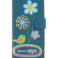 Sweet life vegan/faux leather large wallet with embroidery - 