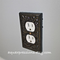 Black Decorative Electrical Outlet Plate /Plug-in Cover/ Fleur de lis/ Bright Cast Iron/ Painted Metal/ Shabby Chic