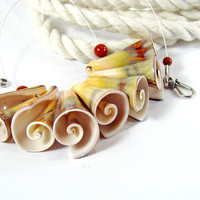 Hawaiian Seashell Necklace with Red Jasper – A Bit of Fun!