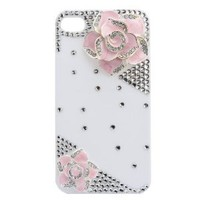 3d Bling Crystal Rhinestone Flower Case Cover for Apple Iphone 4 and 4s (Color: Pink)