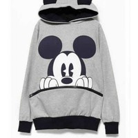 FREE SHIPPING Light Grey Cotton Printing Hoodies Outerwear M/L/XL