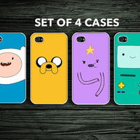 iPhone 4 4s Hard Case - Adventure Time 4 Case Set - Phone Cover IP4