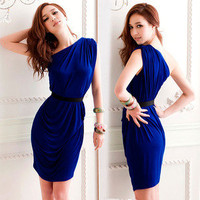 Elegant Womens Sexy Mini Dress Asymmetric One Shoulder Cocktail Party Pleat