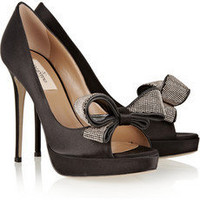 Valentino|Bow-embellished satin peep-toe pumps|NET-A-PORTER.COM