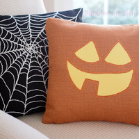 Jack o Lantern Pumpkin Pillow Cover TABITHA Cute Halloween Decor 18 x 18