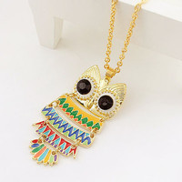 Cute Multicolor Owl Pendant Long Chain Necklace at Online Fashion Jewelry Store Gofavor