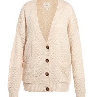 Cream Knitted Oversized Cardigan