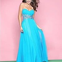 Pool Gathered Chiffon Rhinestone Empire Waist Plus Size Prom Dress - Unique Vintage - Cocktail, Pinup, Holiday & Prom Dresses.