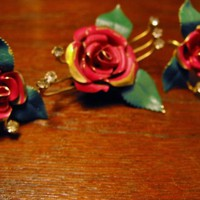 Petite Enamel over Brass Rose and Rhinestone Pin Earrings from giltygirlvintage on Ruby Plaza