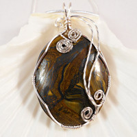 Tiger Eye Wire Wrapped Pendant, Tiger Eye Jewelry, Handmade
