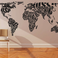 Wall Decal Vinyl Sticker Home Decor Modern Art Mural &quot; World MAP &quot; 68.5&#x27;&#x27; x 133&quot;