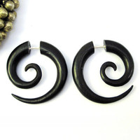 Earrings Fake Gauge Black Wood Earrings Spiral Tribal Earrings - Gauges Plugs Bone Horn - FG009 DW