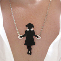 Necklace Little Girl Skipping Black Silhouette by whatanovelidea