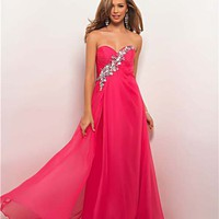 Hot Pink Chiffon &amp; Charmeuse Rhinestone Strapless Sweetheart Prom Dress - Unique Vintage - Cocktail, Pinup, Holiday &amp; Prom Dresses.