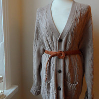 Vintage Cardigan / Cable Knit Beige/Neutral BoHo Retro Grandpa Cardigan / Size L to XL