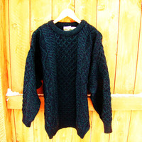 vintage oversized teal irish grandpa sweater. made by Celtic Country. 100% wool. size M to XL. unisex