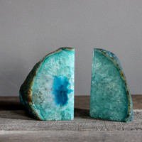 Large, Gorgeous, Teal Blue Agate Bookends