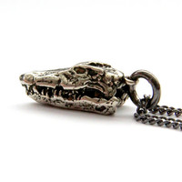 Silver Crocodile Skull Pendant Necklace In Solid White Bronze