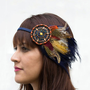 Gypsy Feather Beaded Bohemian Headband - hippie, warrior, rust, blue
