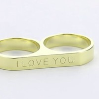 "Beyond Rings ""I Love You\"" 2 Finger Word Ring, Size 7: Jewelry: Amazon.com"