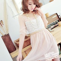 Lace + Chiffon + Silk Lining Round Neckline Pink Half Sleeve Dress--Women's Dresses China Wholesale - Sammydress.com