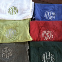Comfort Colors Adult Monogrammed Pocket Tshirt