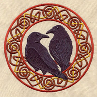Norse Ravens Huginn and Muninn embroidered bib by MorningTempest
