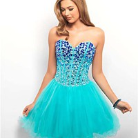 Royal &amp; Aqua Ombre Rhinestone &amp; Tulle Lace Up Short Prom Dress - Unique Vintage - Cocktail, Pinup, Holiday &amp; Prom Dresses.