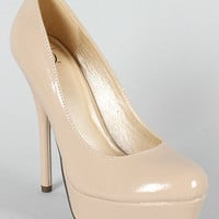Women's High Heels Dress Bridal Round Toe Patent Platform Stiletto Pumps Shoes