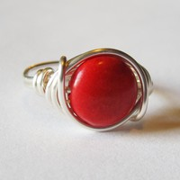 Red Magnesite Gemstone Ring In Silv.. on Luulla