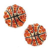 Amazon.com: Sport Basketball Crystal Rhinestone 14mm Drop Stud Fashion Earrings Gold Orange: Jewelry