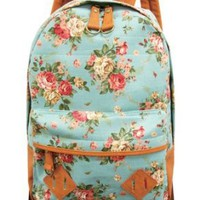 Carrot Aj-31331 Flower Printed Canvas Backpack (Mint Green): Clothing