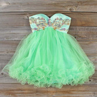 Minted Jewels Party Dress, Sweet Women's Party Dresses