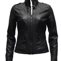 Ladies Black Synthetic Leather Jacket Belt Strap Collar