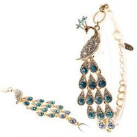 Fashionable Blue and White Rhinestone Inlaid Peafowl Style Bracelet Bangle Hand Chain Wrist Ornament for Female (Gold)