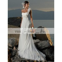 Empire Waist Wedding Gown One Shoulder with Elegant Hand Flower Chapel Train Chiffon