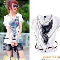 Special Cowl Neck Design Peacock Feather Patterns Elastic Cotton Blouse China Wholesale