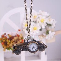 $5.59  Vintage Bronze Classic Cars Pocket Watch Pendant Necklace at Online Cheap Vintage Jewelry Store Gofavor