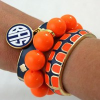 Fornash Monogram Gecko Bangle Set Navy & Orange