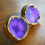 Purple druzy stud earrings 18k gold dipped by jennleedesign