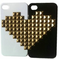 DIY Punk Style Mobile Phone Protective Skin for iPhone 4S 4 Mobile Twin Lover Cover with Studs and Spikes Black White: Cell Phones &amp; Accessories