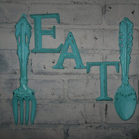 Kitchen Wall Decor / Aqua / Fork and Spoon Decor / EAT Sign/ Wall Word / Shabby Chic / Shabby Chic Decor