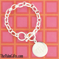 Gorgeous Monogrammed Charm Bracelet - Silver Plated from the Palm Gifts - Unique Monogrammed Gifts for Every Occasion
