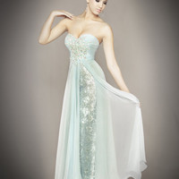 Ice Blue Chiffon &amp; Lace Embellished Strapless Sweetheart Empire Waist Couture Dress - Unique Vintage - Cocktail, Pinup, Holiday &amp; Prom Dresses.
