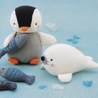 Cotton Linen Fabric Cute Penguin Fish and Seal Animal Mascots Plush Stuffed Toy Sewing Crafts pdf E PATTERN in Japanese