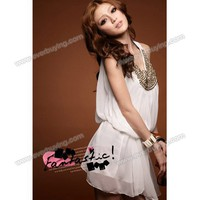 Round Neckline White Chiffon Sleeveless Dress--Women's Dresses China Wholesale