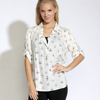Chandelier Shirred Cuff Shirt - Blouses & Tops - Apparel